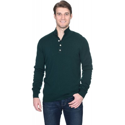 State Fusio Men's Button Down Mock Neck Sweater Cashmere Merino Wool Polo High Neck Pullover at  Men's Clothing store