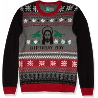 Ugly Christmas Sweater Men's Jesus B-Day Sweater at  Men's Clothing store