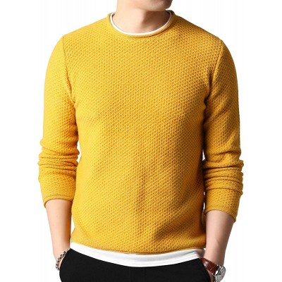 Womleys Mens Casual Crewneck Pullover Sweater Cotton Knitwear at Men's Clothing store