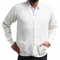 Cardigan Golf Sweater Jersey BRIAD V Neck Buttons Pockets Alpaca Blend Made in Peru White at  Men's Clothing store