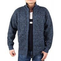 INIBUD Men's Cardigan Sweaters Casual Slim Fit Stand Collar Full Zip Thick Knitted Sweaters for Men at  Men's Clothing store