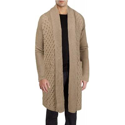 JINIDU Men's Cardigan Sweater Long Knit Jacket Thermal Wool Shawl Collar Coat at  Men's Clothing store
