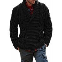 Karlywindow Mens Thick Shawl Collar Double Breasted Cable Knitted Cardigan Sweaters at  Men's Clothing store