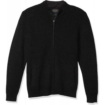 Pendleton Men's Shetland Full Zip Faux Suede Collar Cardigan Sweater at Men's Clothing store