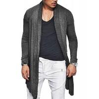 ZEGOLO Mens Long Cardigan Sweater Ruffle Shawl Open Front Drape Cape Overcoat with Pockets
