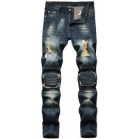 Amoystyle Men's Fashion Ripped Jeans Regular Fit Size US 30-40 at  Men's Clothing store