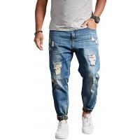 chouyatou Men's Casual Distressed Style Tapered Leg Harem Jogger Jeans Crop Denim Pants at  Men's Clothing store