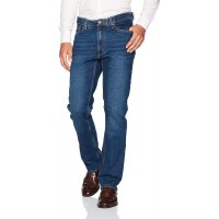 Haggar Men's Stretch Comfort Denim Expandable Waist 5-Pocket Relaxed Fit at  Men's Clothing store