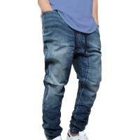 Victorious Men's DK Indigo Drop Crotch Denim Jogger Pants XX-Large at  Men's Clothing store