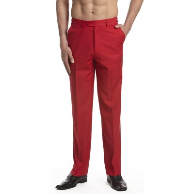 CONCITOR Collection Men's Dress Pants Trousers Flat Front Slacks Solid RED Color at Men's Clothing store