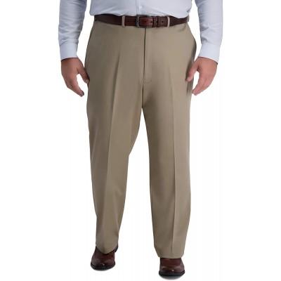Haggar Men's B&T Iron Free Premium Khaki Classic Fit Flat Front Expandable Waist Pant at Men's Clothing store