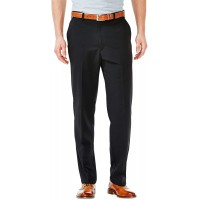 Haggar Men's Cool 18 Hidden Expandable-Waist Plain-Front Pant With Big & Tall Sizes at  Men's Clothing store Dress Pants