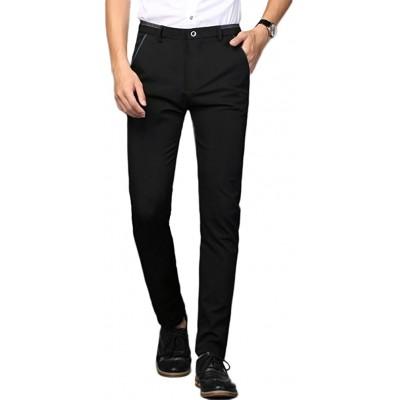 Plaid&Plain Men's Stretch Dress Pants Slim Fit Skinny Suit Pants at  Men's Clothing store