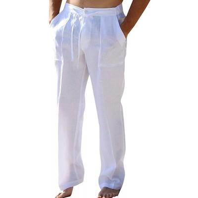 Enjoybuy Mens Casual Linen Pants Elastic Drawstring Waist Summer Loose Fit Long Beach Yoga Pants at Men's Clothing store