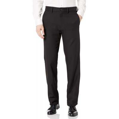 Haggar Men's Cool 18 Pro Straight Fit Flat Front Superflex Waistband Pant at Men's Clothing store