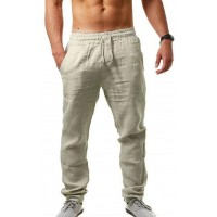 MorwenVeo Men's Linen Pants Casual Long Pants - Loose Lightweight Drawstring Yoga Beach Trousers Casual Trousers - 6 Colors at  Men's Clothing store