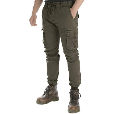PULI Men's Tapered Cargo Pants Slim Fit Chino Joggers Work Trousers with Pockets at  Men's Clothing store