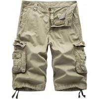 chouyatou Men's Active Normal Waist Loose Multi-Pocket Versatile Twill Cargo Shorts |
