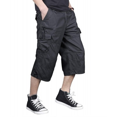 FEDTOSING Men's 3 4 Long Cargo Shorts Loose Fit Elastic Waist Below Knee Work Tactical Shorts with Multi-Pockets |