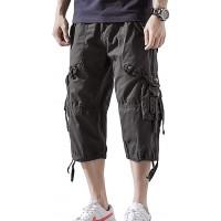 Hakjay Mens 3 4 Long Cargo Shorts Below Knee Shorts Capri Pants