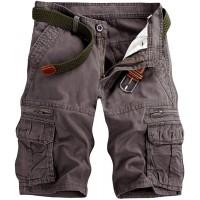 Men's Lightweight Multi Pocket Casual Cargo Shorts with No Belt Grey Green US38=40 |