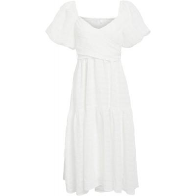 ASTR the label Women's Short Puff Sleeve Sweetheart Neckline Sonnet Midi Dress at Women's Clothing store