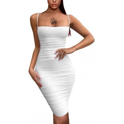 BEAGIMEG Women's Sexy Spaghetti Strap Bodycon Ruched Club Mini Party Dress