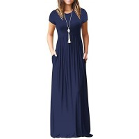 HAOMEILI Women's Long Sleeve Loose Plain Long Maxi Casual Dresses with Pockets at  Women's Clothing store