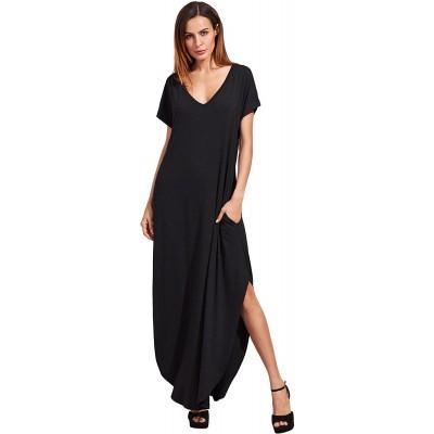 Verdusa Women's V Neck Side Pockets Split Hem Beach Long Maxi Dress at Women's Clothing store