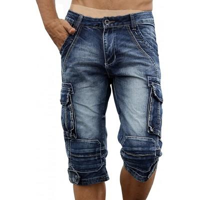 chouyatou Men's Vintage Style Straight Leg Western Denim Cargo Shorts at Men's Clothing store