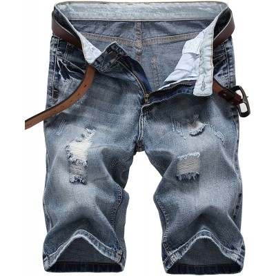 IWOLLENCE Men's Fashion Ripped Distressed Straight Fit Denim Shorts with Hole Blue-US 30 at Men's Clothing store