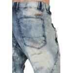 Level 7 Men's Premium Jogger Capri Knit Denim Shorts Tinted Clouded Blue 18 Inseam