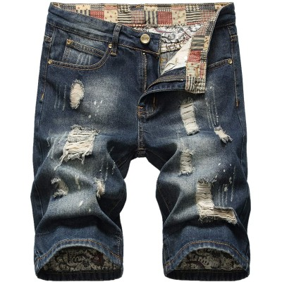 Liuhond Men's Casual Denim Ripped Mid Waist Distressed Jeans Shorts Hole Cut-Off Short Dark Blue at Men's Clothing store
