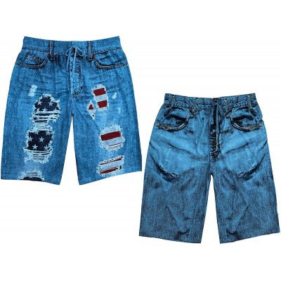 Under Disguise Men's 2-Pack Faux Denim Pajama Shorts Flag Rip and Faux Denim at Men's Clothing store