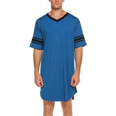 N C Men Cotton Nightshirt Short Sleeve V-Neck Soft Loose Nightwear