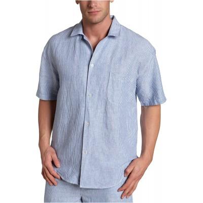Nautica Sleepwear Men's Anchorage Stripe Linen Short Sleeve Camp Delft Blue X-Large at Men's Clothing store Pajama Tops
