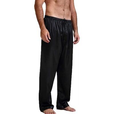 Men's Satin Pajama Pants Sleep Soft Long Classic Pajama Bottoms Solid Lounging Pants at Men's Clothing store