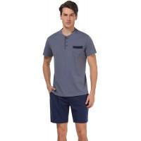 Aiboria Mens Pajamas Shorts Set Summer Sleepwear Cotton Short Sleeve Lounge PJ Set S-XXL