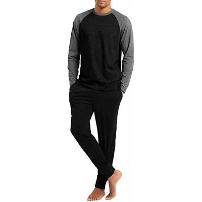 Ekouaer Men's Pajama Set Long Sleeve Pjs Set Top and Pant Sleepwear Soft Lounge Set at Men's Clothing store