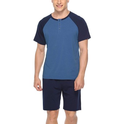 iClosam Mens Cotton Short Sleeve Pajama Sets Super Soft Sleepwear Lounge Set at Men's Clothing store