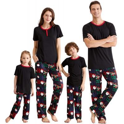 IFFEI Matching Family Pajamas Sets Christmas PJ's with Short Sleeve Black Tee and HOHOHO Print Pants Loungewear