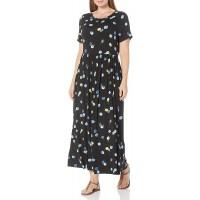 Essentials Women's Plus Size Short-Sleeve Waisted Maxi Dress