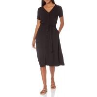 Essentials Women's Short-Sleeve Midi Button Front Tie Dress