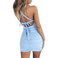 Feeke Women's Sexy Jumpsuit Hollow Out Spaghetti Backless Sleeveless Cutout Club Ruched Bodycon Mini Dress 8121…