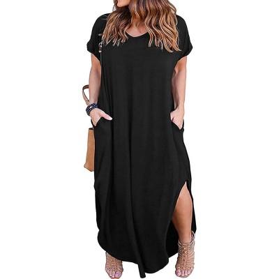 Kancystore Women's Plus Size Dresses Casual Loose Pocket Short Sleeve Slits Plus Size Long Maxi Dress XL-5X at  Women's Clothing store