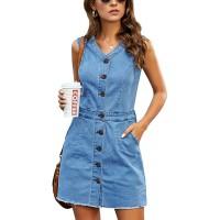 luvamia Women's Casual V Neck Sleeveless Jeans Button Down Denim Short Dress at  Women's Clothing store