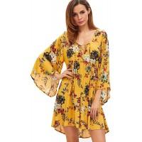 Milumia Women Boho Floral Print Flared Vacation Flowy V Neck Mini Dress at  Women's Clothing store