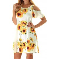 Misyula Style Women Summer Cold Shoulder Floral Flowy T-Shirt Dress with Pockets at  Women's Clothing store