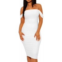 Mizoci Women's Summer Sexy Bodycon Tube Top Off Shoulder Party Club Midi Dress at  Women's Clothing store