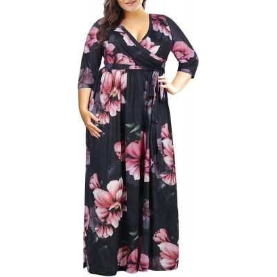 Nemidor Women's 3 4 Sleeve Floral Print Plus Size Casual Party Maxi Dress